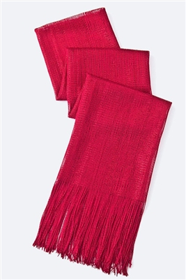 Long glitter scarf with fringe - red