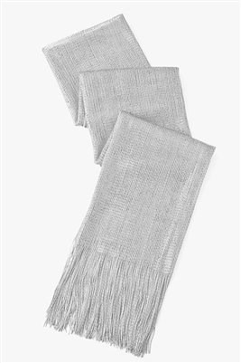 Long glitter scarf with fringe - silver