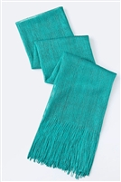 Long glitter scarf with fringe - teal