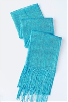 Long glitter scarf with fringe - turquoise