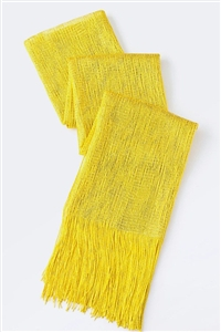 Long glitter scarf with fringe - yellow