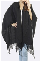 Basic fringed shawl - black