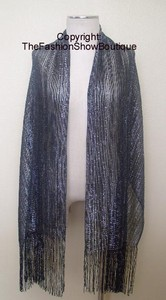 Long shawl with fringe - black/silver