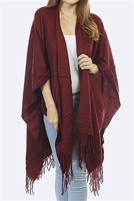 Basic fringed shawl - burgundy
