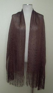 Long shawl with fringe - brown