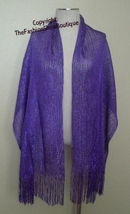 Long shawl with fringe - purple