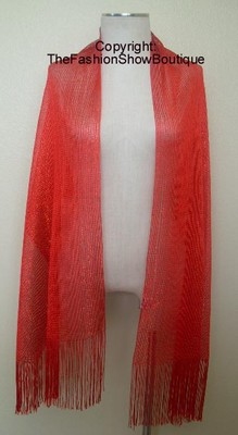 Long shawl with fringe - red