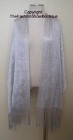 Long shawl with fringe - silver