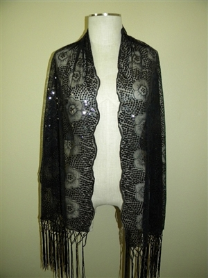 Sequin shawl with fringe - black