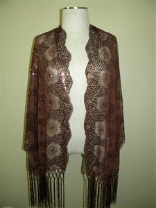 Sequin shawl with fringe - brown