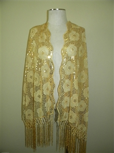 Sequin shawl with fringe - gold