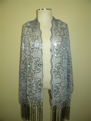 Sequin shawl with fringe - grey