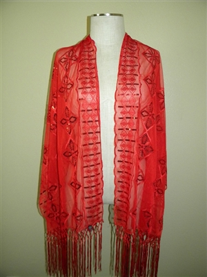 Sequin shawl with fringe - red