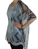 Silky button shawl - grey print - polyester