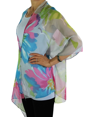 Silky button shawl - multicolor flowers on grey - polyester