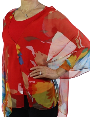 Silky button shawl - multicolor flowers on red - polyester