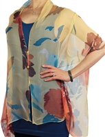 Silky button shawl - multicolor flowers on yellow - polyester