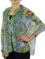 Silky button shawl - lime multiprint - polyester