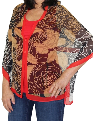 Silky button shawl - black/gold roses with red - polyester