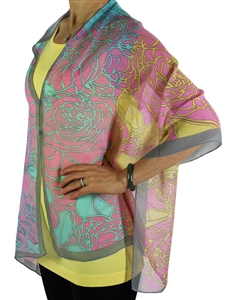 Silky button shawl - pink/yellow/aqua roses with grey - polyester