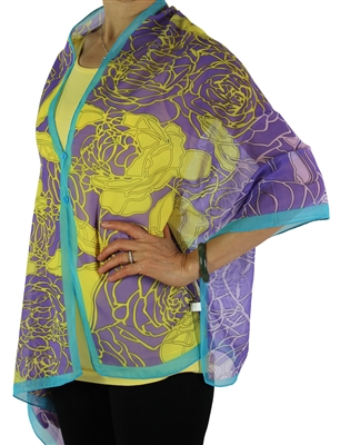 Silky button shawl - purple/lime roses with teal - polyester