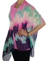 Silky button shawl - pink/white/navy/seafoam - polyester