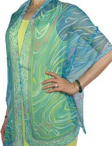 Silky button shawl - turquoise swirl - polyester