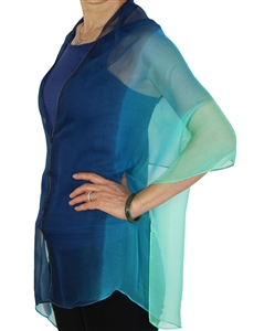 Silky button shawl - navy blue seafoam - polyester