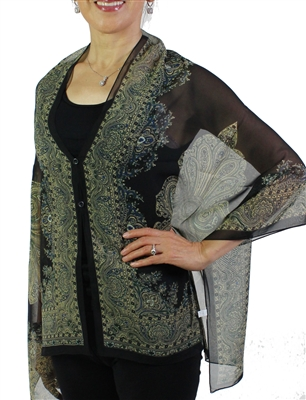 Silky button shawl - paisley border on black - polyester