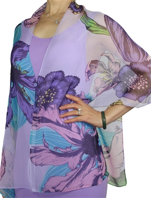 Silky button shawl - purple/lilac flowers - polyester