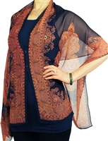 Silky button shawl - paisley border on navy - polyester