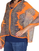 Silky button shawl - paisley border on orange - polyester