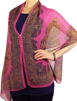Silky button shawl - paisley border on hot pink - polyester