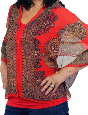 Silky button shawl - paisley border on red - polyester
