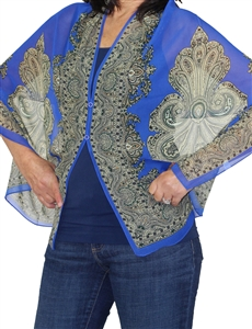 Silky button shawl - paisley border on royal blue - polyester