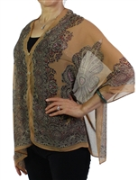 Silky button shawl - paisley border on tan - polyester