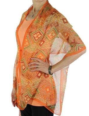 Silky button shawl - orange diamonds - polyester