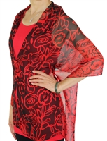 Silky button shawl - red/black flowers - polyester