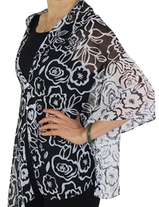 Silky button shawl - white/black flowers - polyester