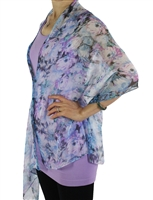 Silky button shawl - purple/blue/white flowers - polyester