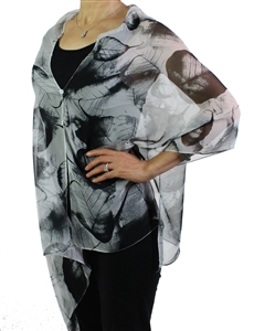 Silky button shawl - white/black leaves - polyester