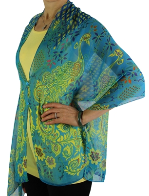 Silky button shawl - turquoise peacock abstract - polyester