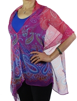 Silky button shawl - royal paisley fantasy - polyester