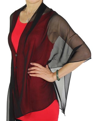 Silky button shawl - sheer black - polyester