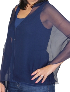Silky button shawl - sheer navy - polyester