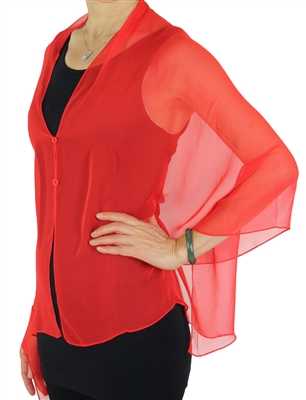 Silky button shawl - sheer red - polyester