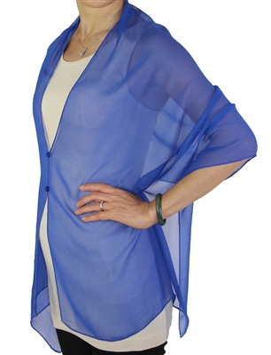 Silky button shawl - sheer royal blue - polyester