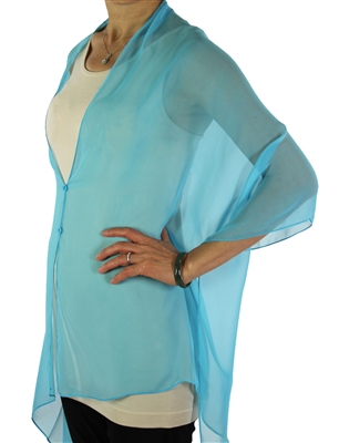 Silky button shawl - sheer turquoise - polyester