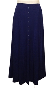 Button skirt - navy - polyester/spandex