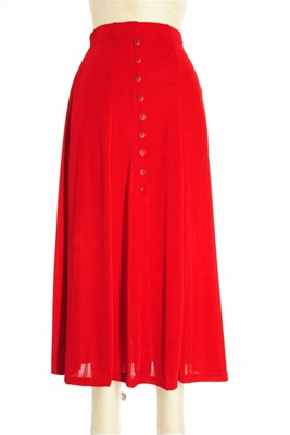 Button skirt - red - polyester/spandex